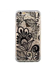 Coque Lace Fleur Flower Noir Transparente pour iPhone 6 et 6S - Petit Griffin