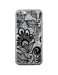 Coque Lace Fleur Flower Noir Transparente pour iPhone 6 Plus et 6S Plus - Petit Griffin