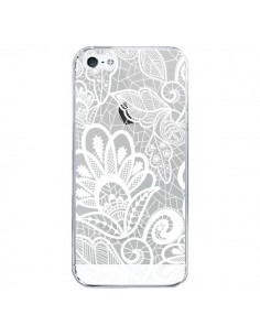 Coque iPhone 5/5S et SE Lace Fleur Flower Blanc Transparente - Petit Griffin