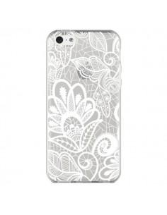 Coque Lace Fleur Flower Blanc Transparente pour iPhone 5C - Petit Griffin