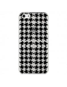 Coque iPhone 5C Vichy Carre Noir Transparente - Petit Griffin