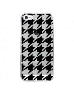 Coque iPhone 5/5S et SE Vichy Gros Carre noir Transparente - Petit Griffin