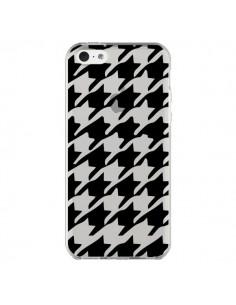 Coque iPhone 5C Vichy Gros Carre noir Transparente - Petit Griffin