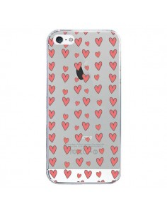 Coque Coeurs Heart Love Amour Rouge Transparente pour iPhone 5/5S et SE - Petit Griffin