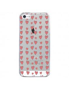 Coque iPhone 5/5S et SE Coeurs Heart Love Amour Rouge Transparente - Petit Griffin