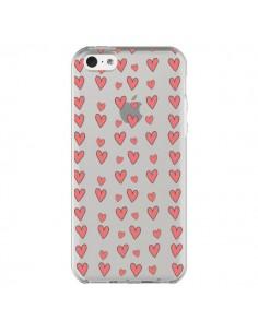 Coque iPhone 5C Coeurs Heart Love Amour Rouge Transparente - Petit Griffin