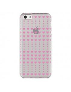 Coque Coeurs Heart Love Amour Rose Transparente pour iPhone 5C - Petit Griffin