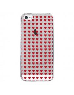Coque Coeurs Heart Love Amour Red Transparente pour iPhone 5/5S et SE - Petit Griffin
