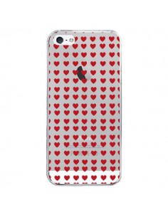 Coque iPhone 5/5S et SE Coeurs Heart Love Amour Red Transparente - Petit Griffin