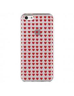 Coque Coeurs Heart Love Amour Red Transparente pour iPhone 5C - Petit Griffin