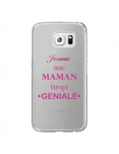 Coque Je suis une maman trop géniale Transparente pour Samsung Galaxy S7 Edge - Laetitia
