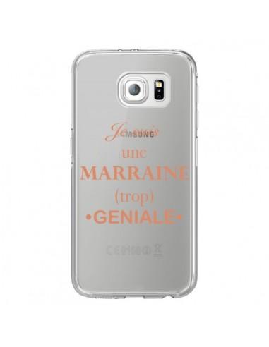 Coque Je suis une marraine trop géniale Transparente pour Samsung Galaxy S6 Edge - Laetitia