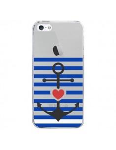 Coque Mariniere Ancre Marin Coeur Transparente pour iPhone 5/5S et SE - Jonathan Perez