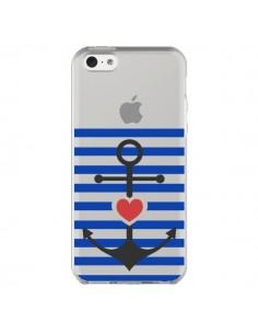 Coque Mariniere Ancre Marin Coeur Transparente pour iPhone 5C - Jonathan Perez