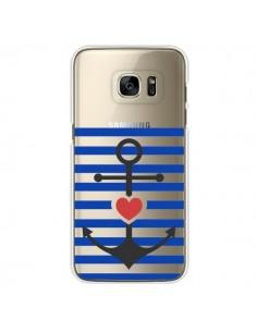 Coque Mariniere Ancre Marin Coeur Transparente pour Samsung Galaxy S7 Edge - Jonathan Perez