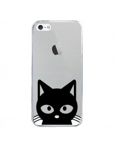 Coque iPhone 5/5S et SE Tête Chat Noir Cat Transparente - Yohan B.