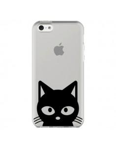 Coque iPhone 5C Tête Chat Noir Cat Transparente - Yohan B.