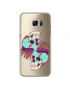 Coque Tête de Mort Crane Punk Double Transparente pour Samsung Galaxy S7 Edge - Victor Vercesi
