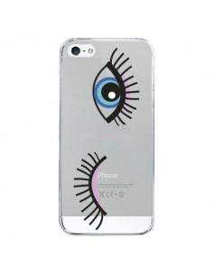 Coque Eyes Oeil Yeux Bleus Transparente pour iPhone 5/5S et SE - Elsa Lambinet