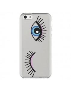 Coque Eyes Oeil Yeux Bleus Transparente pour iPhone 5C - Léa Clément