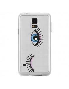 Coque Eyes Oeil Yeux Bleus Transparente pour Samsung Galaxy S5 - Elsa Lambinet