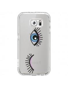 Coque Eyes Oeil Yeux Bleus Transparente pour Samsung Galaxy S6 - Elsa Lambinet