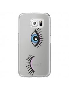 Coque Eyes Oeil Yeux Bleus Transparente pour Samsung Galaxy S6 Edge - Léa Clément
