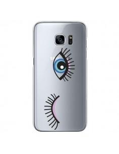 Coque Eyes Oeil Yeux Bleus Transparente pour Samsung Galaxy S7 - Elsa Lambinet