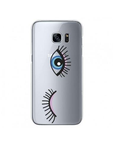 Coque Eyes Oeil Yeux Bleus Transparente pour Samsung Galaxy S7 - Léa Clément