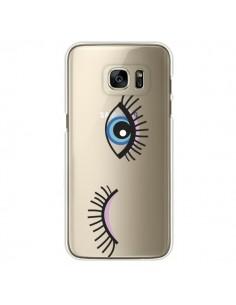 Coque Eyes Oeil Yeux Bleus Transparente pour Samsung Galaxy S7 Edge - Elsa Lambinet