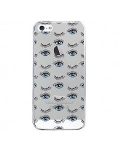 Coque Eyes Oeil Yeux Bleus Mosaïque Transparente pour iPhone 5/5S et SE - Léa Clément