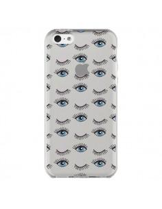 Coque Eyes Oeil Yeux Bleus Mosaïque Transparente pour iPhone 5C - Elsa Lambinet