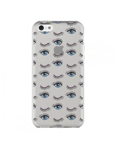 Coque iPhone 5C Eyes Oeil Yeux Bleus Mosaïque Transparente - Léa Clément