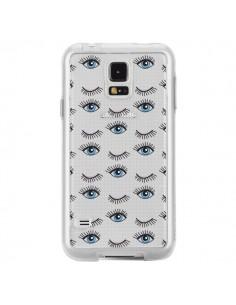 Coque Eyes Oeil Yeux Bleus Mosaïque Transparente pour Samsung Galaxy S5 - Léa Clément