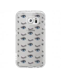 Coque Eyes Oeil Yeux Bleus Mosaïque Transparente pour Samsung Galaxy S6 - Léa Clément