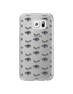 Coque Eyes Oeil Yeux Bleus Mosaïque Transparente pour Samsung Galaxy S6 Edge - Léa Clément