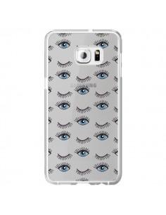 Coque Eyes Oeil Yeux Bleus Mosaïque Transparente pour Samsung Galaxy S6 Edge Plus - Elsa Lambinet