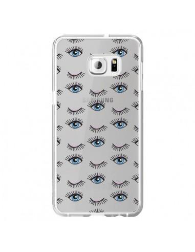 Coque Eyes Oeil Yeux Bleus Mosaïque Transparente pour Samsung Galaxy S6 Edge Plus - Léa Clément