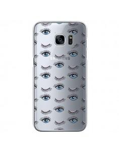 Coque Eyes Oeil Yeux Bleus Mosaïque Transparente pour Samsung Galaxy S7 - Léa Clément