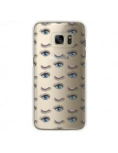 Coque Eyes Oeil Yeux Bleus Mosaïque Transparente pour Samsung Galaxy S7 Edge - Léa Clément