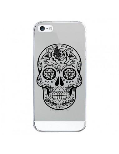 Coque iPhone 5/5S et SE Tête de Mort Mexicaine Noir Transparente - Laetitia