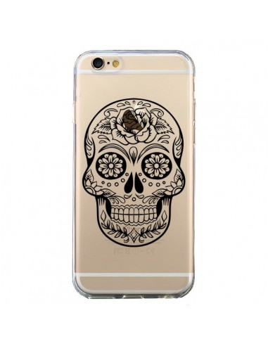 Coque iPhone 6 et 6S Tête de Mort Mexicaine Noir Transparente - Laetitia