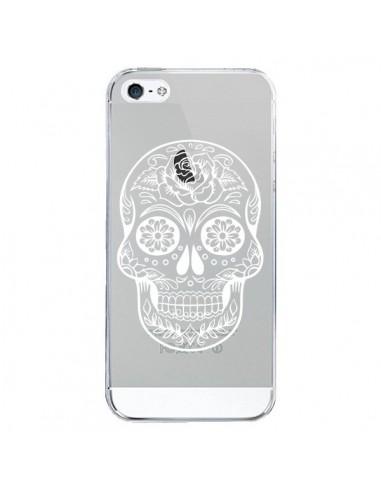 Coque iPhone 5/5S et SE Tête de Mort Mexicaine Blanche Transparente - Laetitia