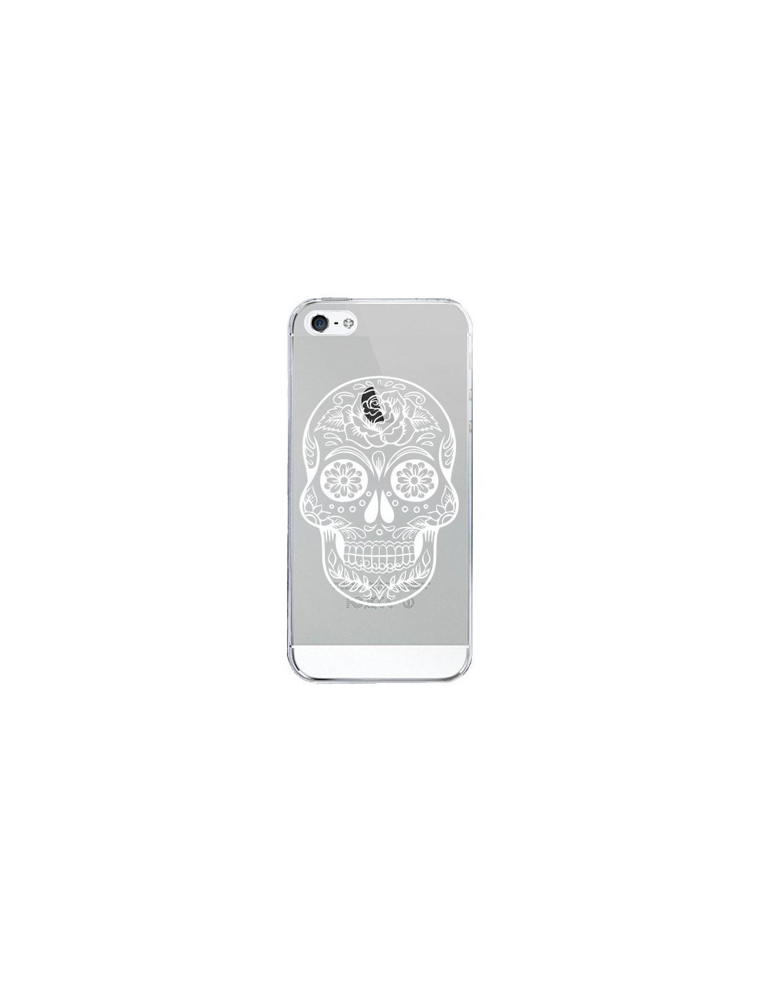 coque iphone 5 5s se tete de mort mexicaine blanche transparente 5s et se laetitia