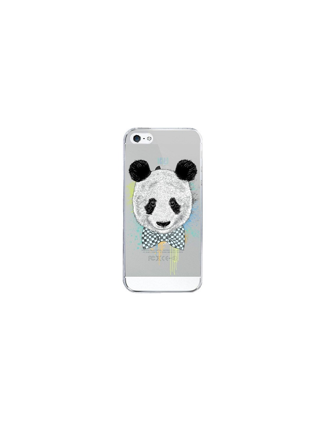 coque panda noeud papillon transparente pour iphone 5 5s et se rachel caldwell. Black Bedroom Furniture Sets. Home Design Ideas