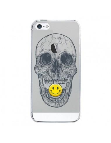 Coque iPhone 5/5S et SE Tête de Mort Smiley Transparente - Rachel Caldwell