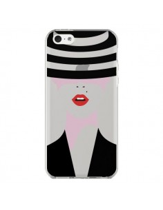 Coque iPhone 5C Femme Chapeau Hat Lady Transparente - Dricia Do