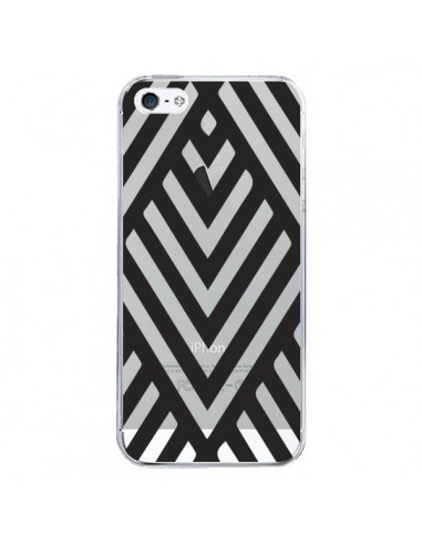 Coque Geometric Azteque Noir Transparente pour iPhone 5/5S et SE - Dricia Do