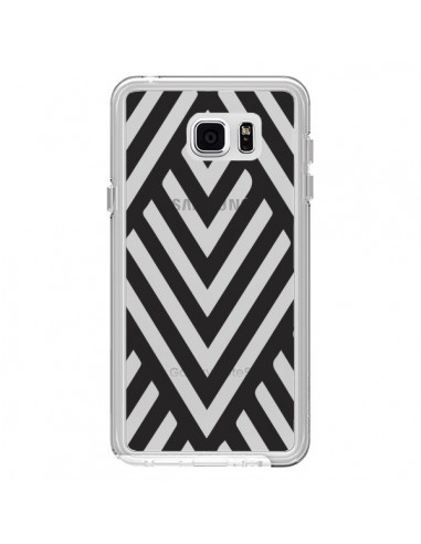 Coque Geometric Azteque Noir Transparente pour Samsung Galaxy Note 5 - Dricia Do