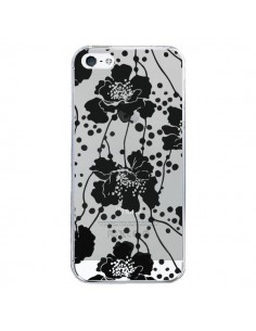 Coque iPhone 5/5S et SE Fleurs Noirs Flower Transparente - Dricia Do